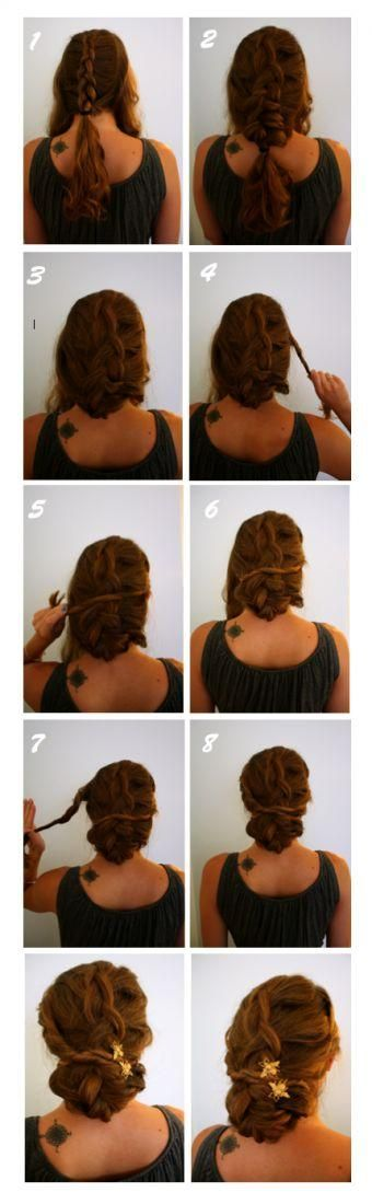 Braided & Twisted Updo. I really love this style....if only my hair were long enough to do it.