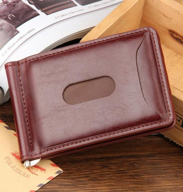 2017 Hot Sale Fashion New Men Money Clips Leather 2 folded Open Clamp For Money With Zipper Pocket Free Shipping