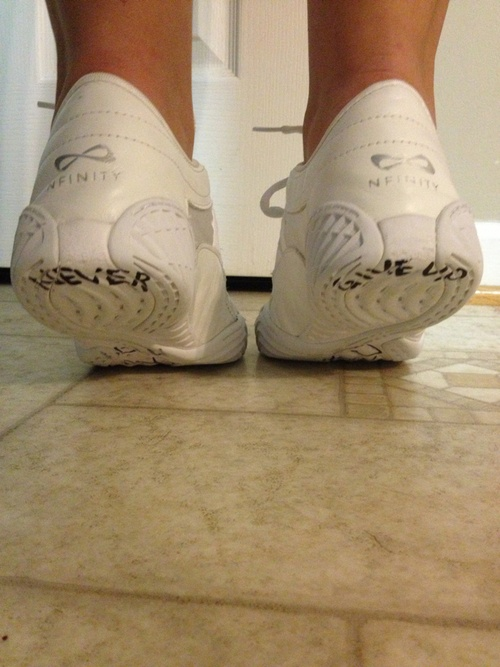 Write a note to bases on their flyers shoes.