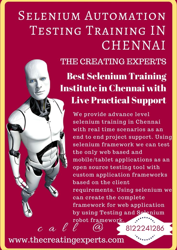 We provide best selenium training in Chennai with real time scenarios.For real time training reach us 8122241286 and become experts in selenium.