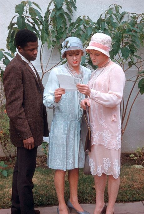 Sidney Poitier visiting Tony Curtis and Jack Lemmon on the set of Some Like it Hot, 1959.