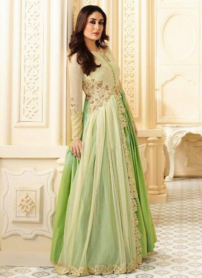 1dae86565 Buy Kareena Kapoor Cream N Green Anarkali Suit Online
