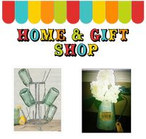 home, gift shop, mason jars, storage, linen, burlap table, jilly bean kids, office supplies