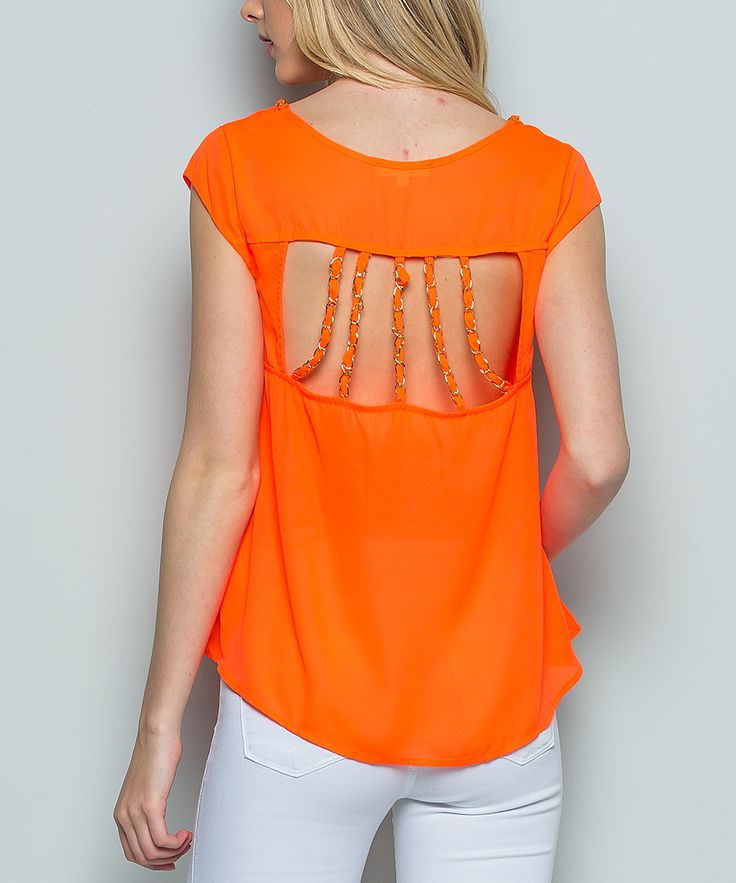 Orange Strappy Cutout-Back Scoop Neck Top