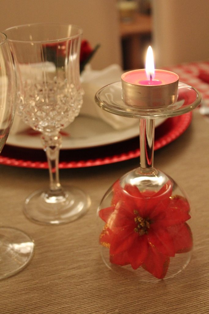 Popular designer stroke - a candle on the stem of a glass