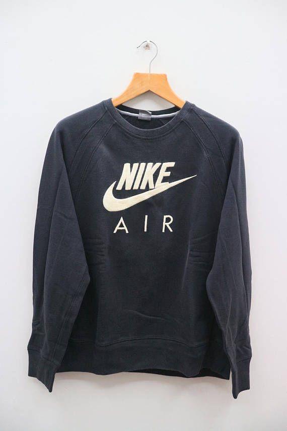 74e38f6dc Vintage NIKE AIR Hip Hop Sportswear Black Crewneck Pullover ...