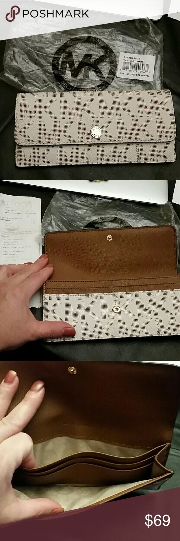 Michael Kors Jet Set Travel Flap Wallet New Vanilla Leather  Camel interior  Gold hardware  Purchased at macys and never used Michael Kors Bags Wallets