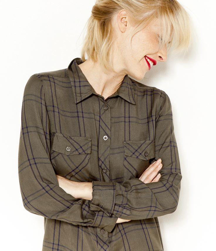 Chemise longue à carreaux kaki Camaïeu 2016