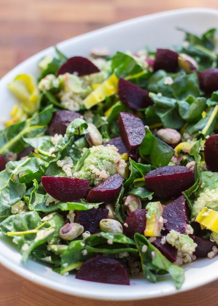 Beet Salad with Quinoa, Swiss Chard, and Avocado