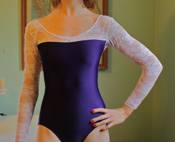 "The ""Ceriah"" Leotard in Long Sleeve Lace by Lone Reed Designs"