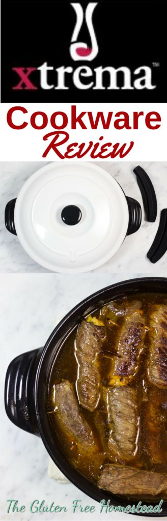 Click on the pin to get my Xtrema Braiser review and recipe idea | Braised Steak Roll ups | Healthy Braiser, Skillets, and Pots | Green natural ceramic glaze cookware | Product review | Benefits of Xtrema cookware | Healthy cooking | All-in-One skillet can be used as a braiser for slow cooking, a skillet for frying or sautéing, or as a casserole dish for baking. And guess what? It's lighter than my cast iron pans!
