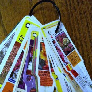 Garden Tags. Punch holes in plastic instructions that come with your plants and keep on a binder ring.