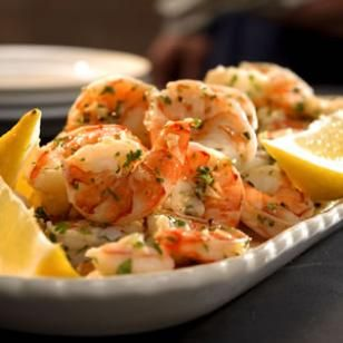 Lemon-Garlic Marinated Shrimp ~ Marinating precooked shrimp in garlic- and lemon-infused oil is a simple yet elegant appetizer.