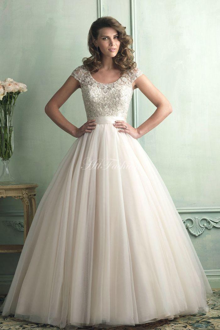 Brush Train Ball Gown Organza Scoop Natural Waist Wedding Dress