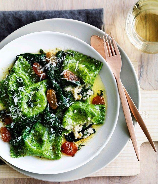 Australian Gourmet Traveller recipe for nettle and ricotta ravioli with golden raisins.