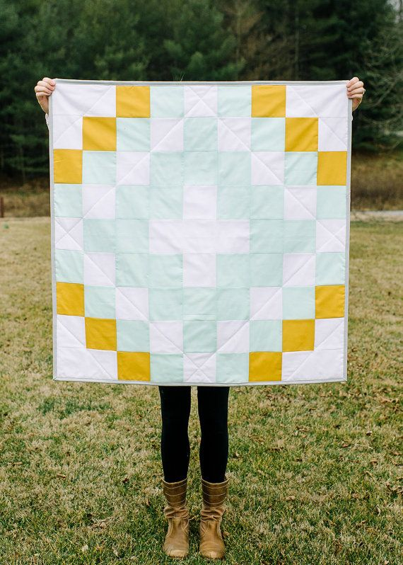 Baby Quilt Simple Squares White Mint Mustard And By