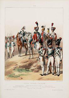 Regno d'Italia - Esercito del Regno d'Italia (1805-1814) - Guardia Reale Italiana nel 1810. Da sinistra: generale di divisione, ufficiale degli ussari della Guardia, ufficiale del 1º reggimento ussari, guardia d'onore, granatieri e fucilieri