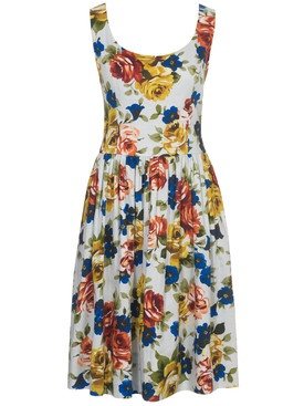 Floral Dress #scoop_neck #gathered_skirt #pockets