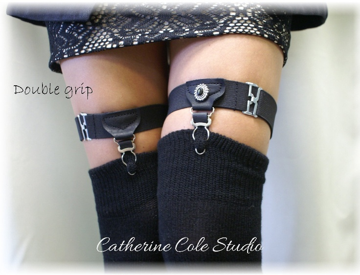 Garters / DOUBLE  Grip / G3 /  Made in USA steampunk garters A timeless vintage menswear style Sock Garters Thigh high  Catherine Cole. $27.50, via Etsy.