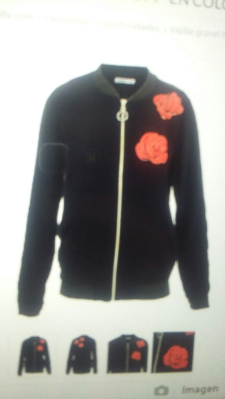 Bomper jacket rosas bordadas