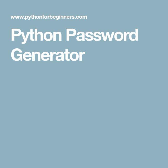 Python Password Generator