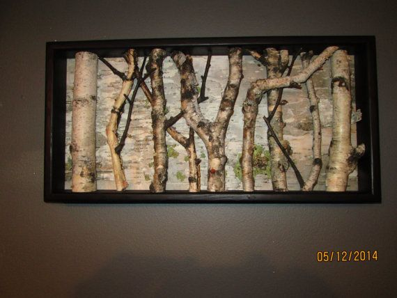 Birch Wall Hanging  Black and White Open Art by MadeAtTheLake, $105.00