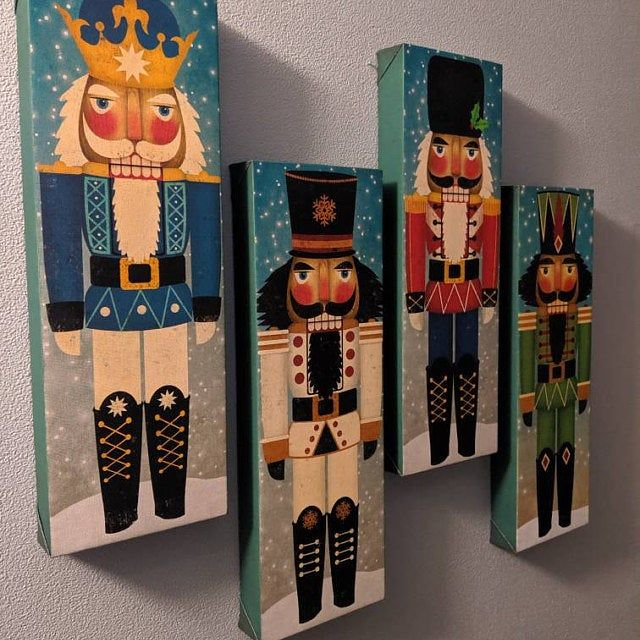 Nutcracker Stretched Canvas Wall Art Ready To Hang Signed Fowler Christmas Decor Christmas Canvas Christmas Art Christmas Paintings
