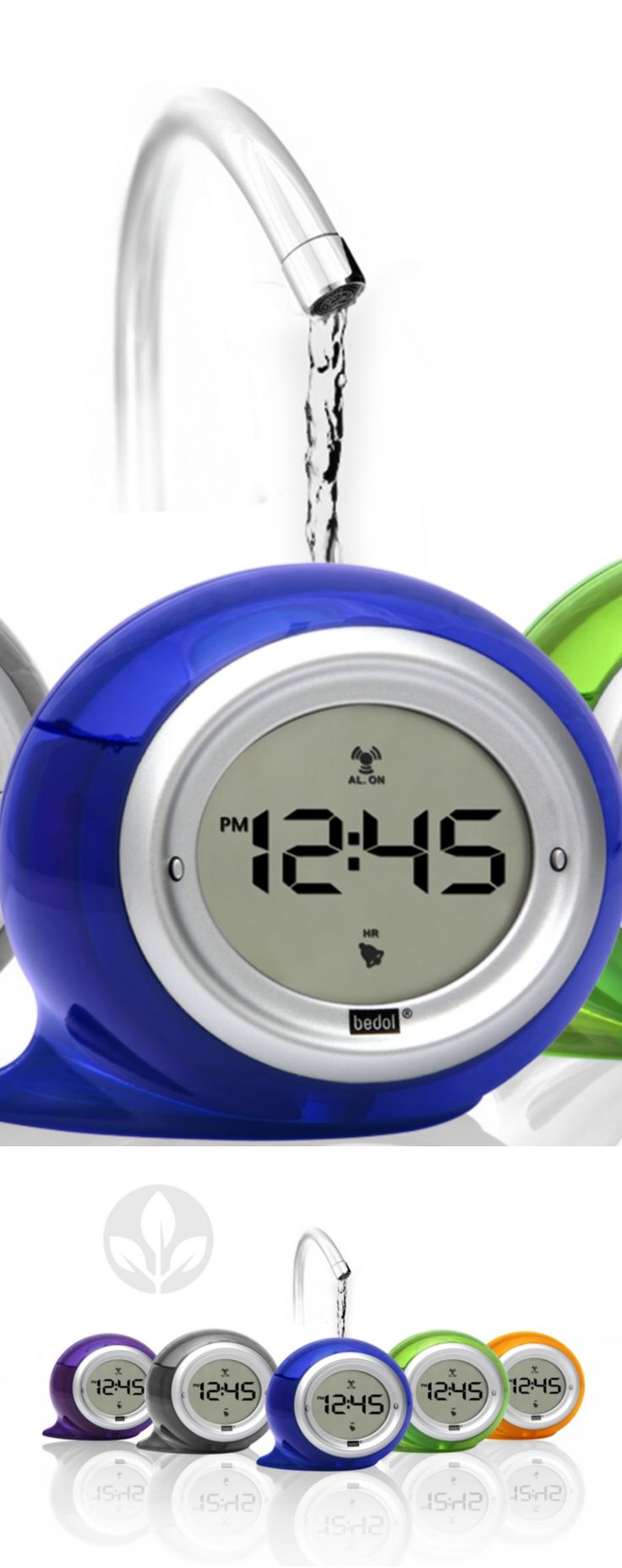 No power? No problem. Just add water! The Bedol Squirt Water Alarm Clock runs on water. No batteries, AC power or solar power are needed. Simply fill the unit with tap water and a small natural reaction between two metallic plates inside the unit generates enough electricity to keep its LCD display running indefinitely. The $26 unit comes in blueberry blue, kiwi green, tangerine orange, plum purple or smoke gray. CLICK THE PIC for more information.
