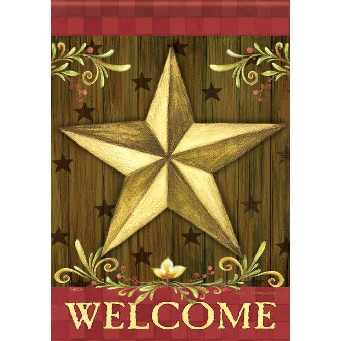 Gold Star Welcome Garden Flag