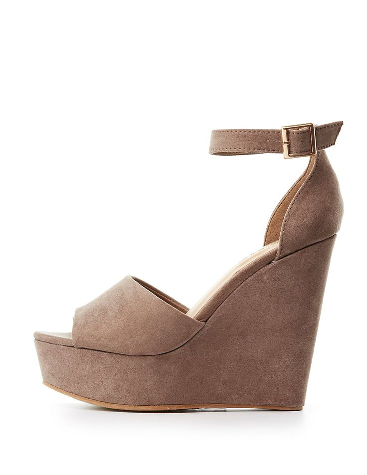 Bamboo Two-Piece Wedge Sandals | Charlotte Russe