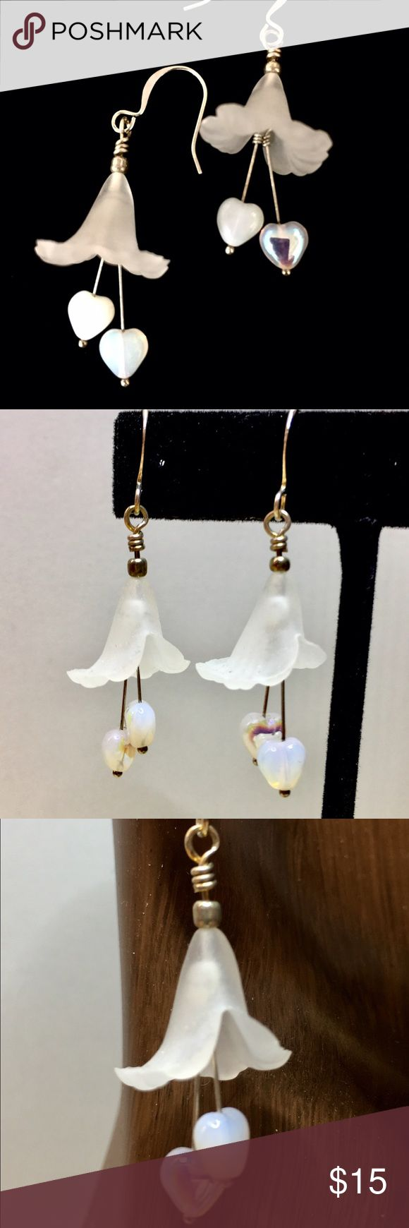 """White Lucite Lilly Dangle Earrings These are a really nice pair of handcrafted dangle earrings. Made from Lucite flowers and vintage Czech opalescent hearts. Measures 1/2"""" x 1 1/4"""" from the bottom of the dangle to the top of the flower. StevebDesigns Jewelry Earrings"""