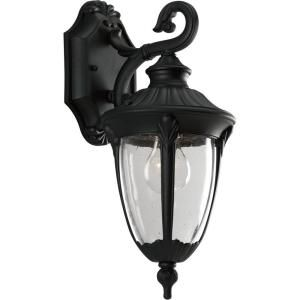 Meridian Collection Textured Black 1-light Wall Lantern-P5892-31 at The Home Depot