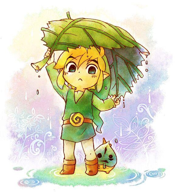 the legend of zelda wind waker link and makar under a deku leaf - Link Et Zelda