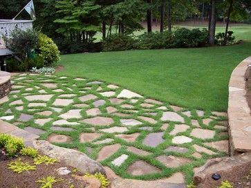 Patio Grass Stone Natural Stone Patio With Grass Joints