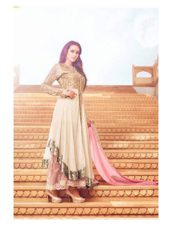 Extraordinary Golden Off White and Pink Combination Deigner Dress