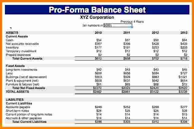 Pro Forma Balance Sheet Template Luxury 7 Pro Forma Balance Sheet In 2020 Balance Sheet Template Statement Template Business Letter Template