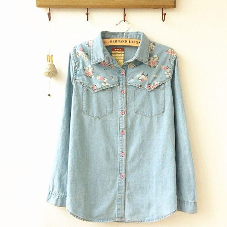 Fashion Style Long Sleeve Casual Shirt New Spring Woman Denim Shirts Women Blouses Plus Size Blusa Jeans Feminina ST095