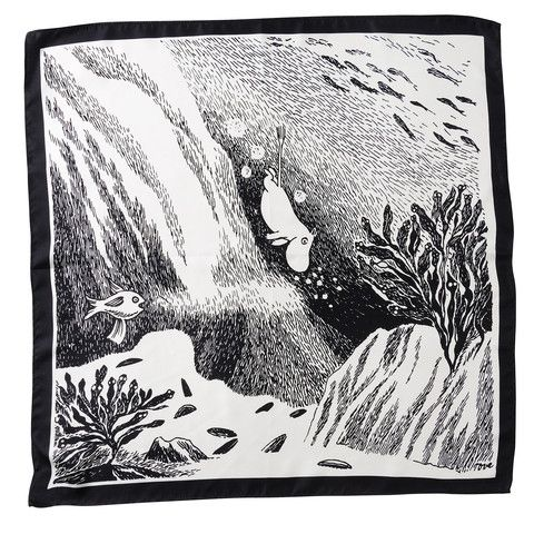 Moomin diving pocket square by Lasessor