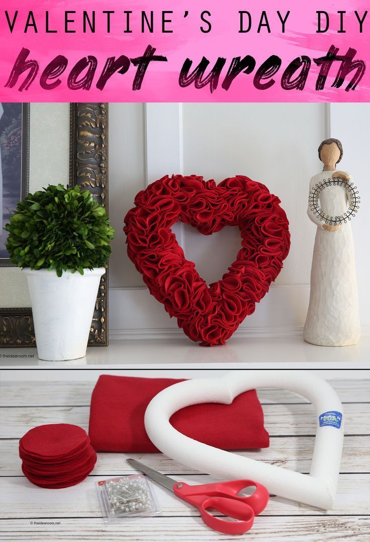 Heart Wreath For Valentine S Day In 2020 Diy Valentines Decorations