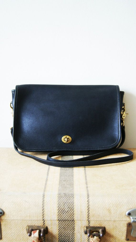 Vintage Coach Bag. Black Leather Cross Body Purse. 80s Coach Satchel. Convertible Clutch. on Etsy, $72.00