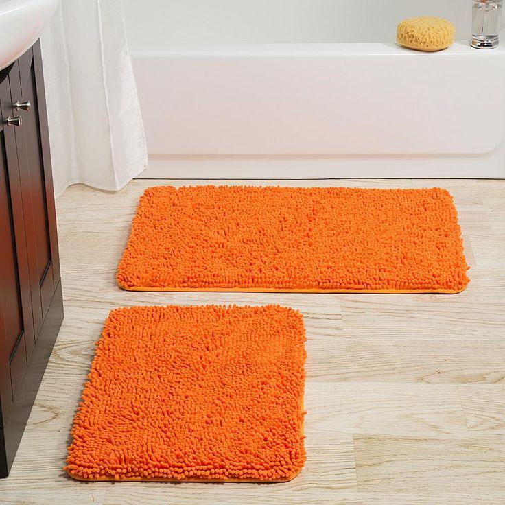 Trademark Global Lavish Home 2-piece Memory Foam Shag Bath Mat - Orange