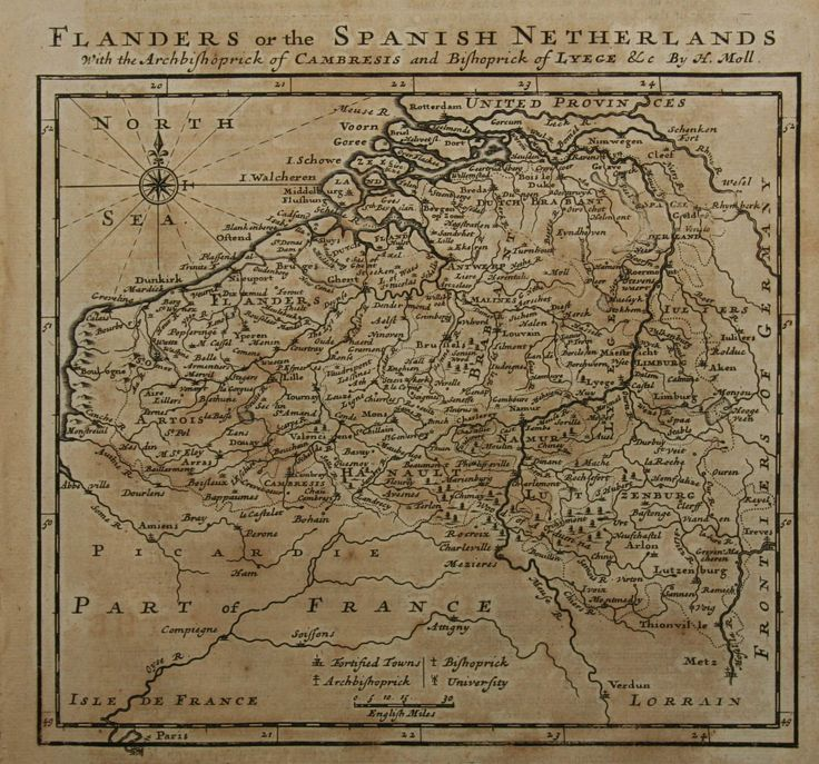 Flanders or the Spanish Netherlands (1709) [1100×1028]