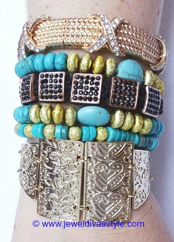 "JDS - JEWEL DIVAS ""FROM NOW AND ALWAYS"" BRACELET STACK - http://jeweldivasstyle.com/designer-inspired-more-bracelet-stacks/"