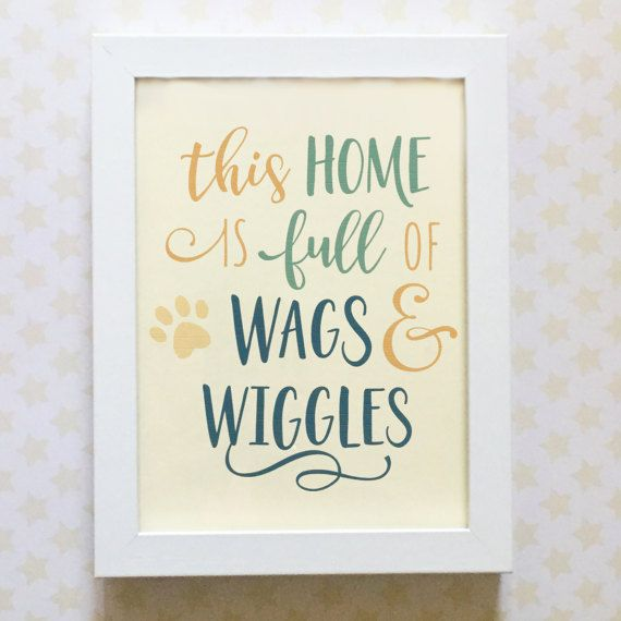 Dog Quote Framed Picture - Wags and Wiggles - Blues - Dog Lovers Gift - Free Gift Wrapping
