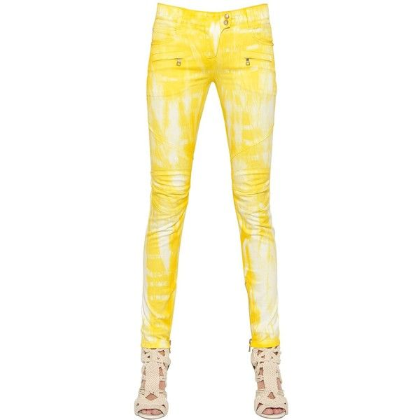 BALMAIN Tie Dye Stretch Denim Jeans ($701) ❤ liked on Polyvore featuring jeans, pants, tie dye jeans, tie dyed jeans, stretch denim jeans, tye dye jeans and balmain jeans