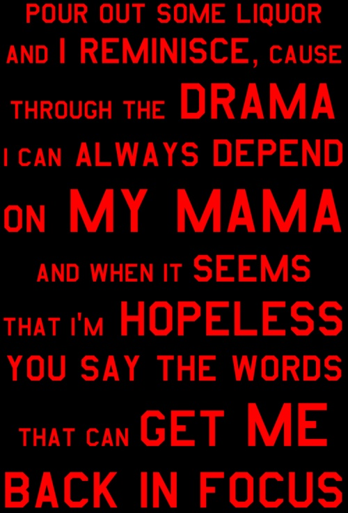 """""""Dear Mama, Place no one above ya, sweet lady, You are appreciated, Don't cha know we love ya?""""- 2Pac When you love your son(s) it hurts. . . His voice, and the lyrics of this song are telling of what young men's hearts all around the world are saying.. """"You are appreciated""""."""