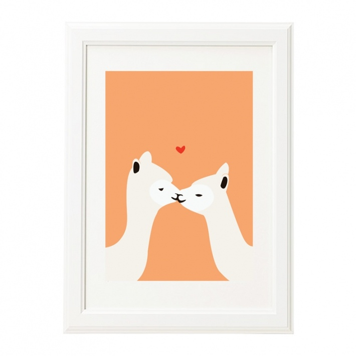 Llama Kiss Print www.aliceberrydesign.com  COPYRIGHT ALICE BERRY