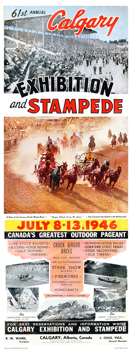 1946 Calgary Stampede Poster- I love the font, the era, and the horses!