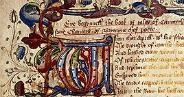 Detail of an illuminated edition of The Canterbury Tales from The British Library