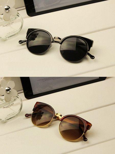 Óculos escuros half-frame gatinho 80s